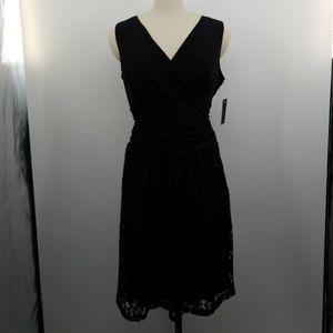 Enfocus Studio Womens Dress Size 14w Black Sleevel